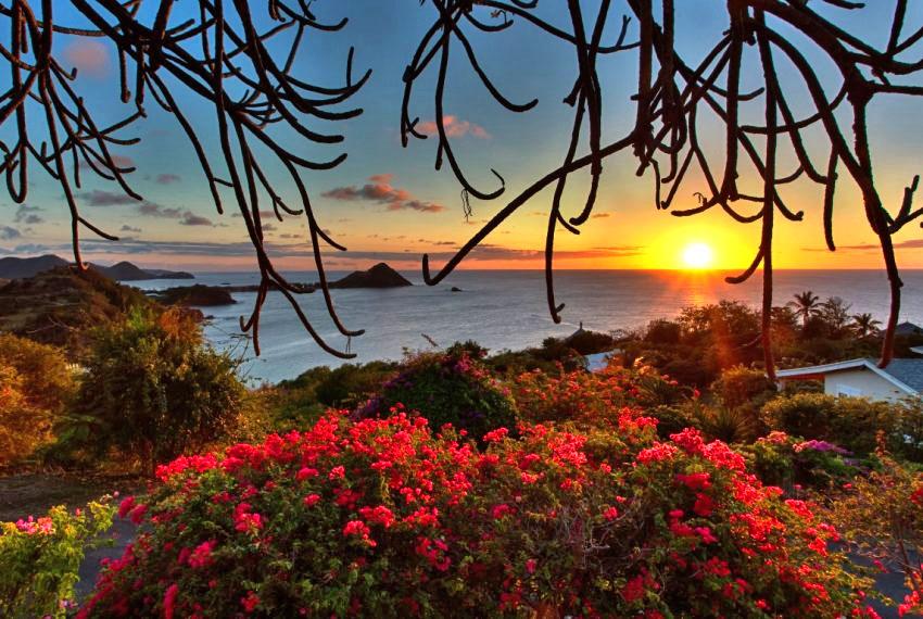 villa hillside sunset view