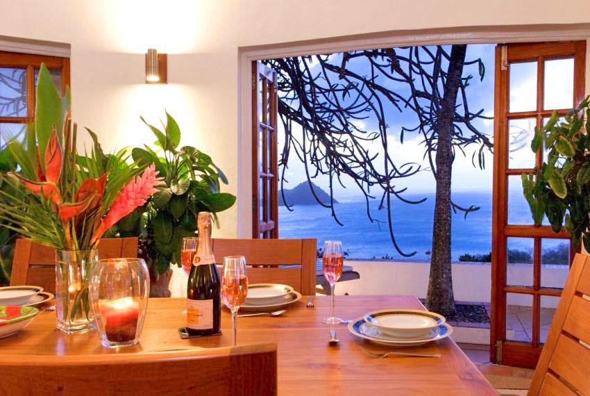 villa hillside view from dining