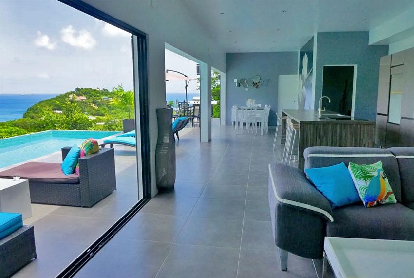 St-Lucia-Homes---GRI005-Lab-Villa---Deck-Pool-door-view