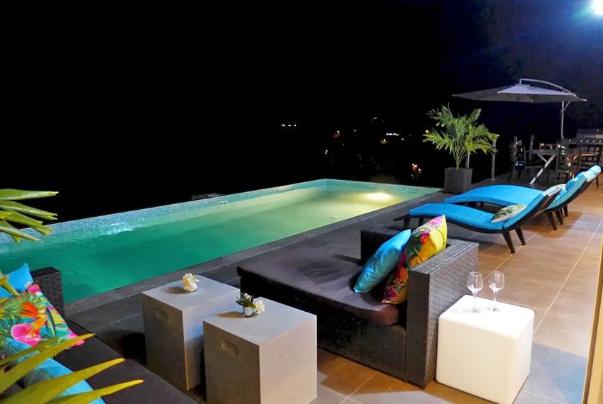 St-Lucia-Homes---GRI005-Lab-Villa----Pool-Nighttime