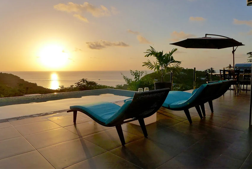 St-Lucia-Homes---GRI005-Lab-Villa---Pool-sunset-view